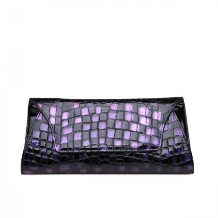 Purple Black Embossed Alligator Envelope Flap Bag Expensive Cowhide Genuine Leather Casual Party Lady Small Evening Clutch