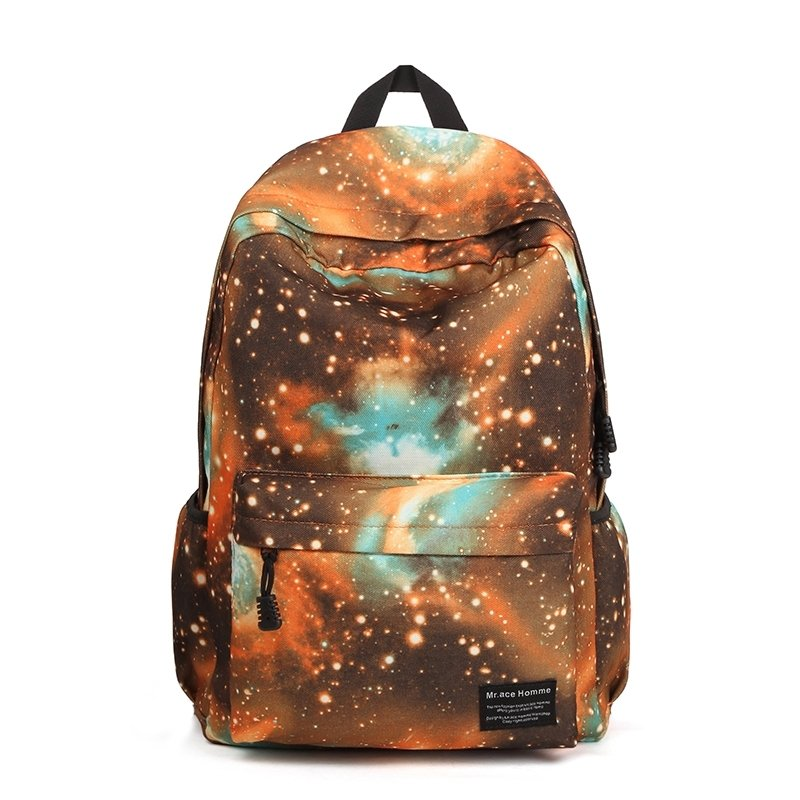 High Fashion Nylon Trendy Casual Travel Backpack Aqua Chocolate Orange Galaxy Scene Nebula Print Fine Preppy Style School Bag