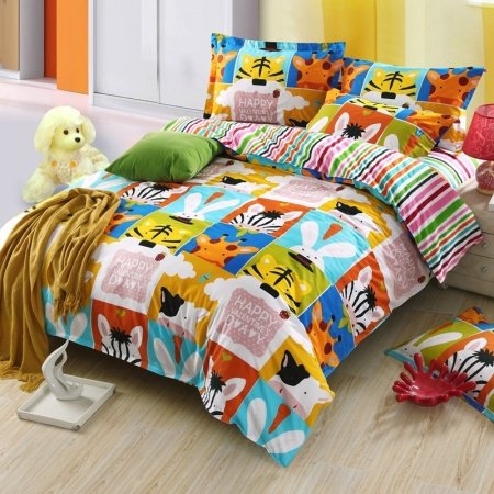 Kids Orange Blue and Lime Anime Style Animal Print Colorful Patchwork Design 100% Cotton Twin, Full Size Bedding Sets