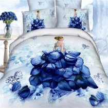 Dark Blue and White Antique Rose Princess Pattern Diamond Print Elegant Cute Girly Themed 100% Cotton Twin, Full Size Bedding Sets