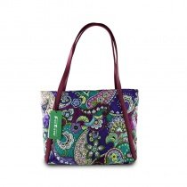 Durable Canvas Stylish Women Large Tote Purple Teal Personalized Western Paisley Print Shoulder Bag Casual Trendy Bohemian Style Purse