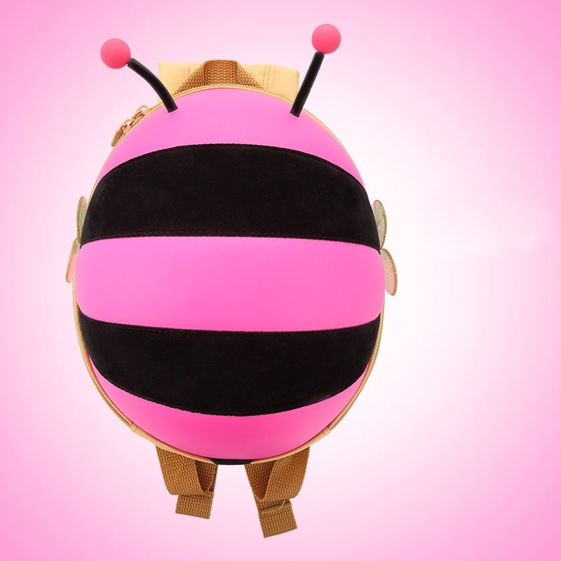 Contracted Rose Pink Black Rugby Stripe Personalized Cute Animal Bee-shaped Toddler Book Bag Stylish Girls School Backpack