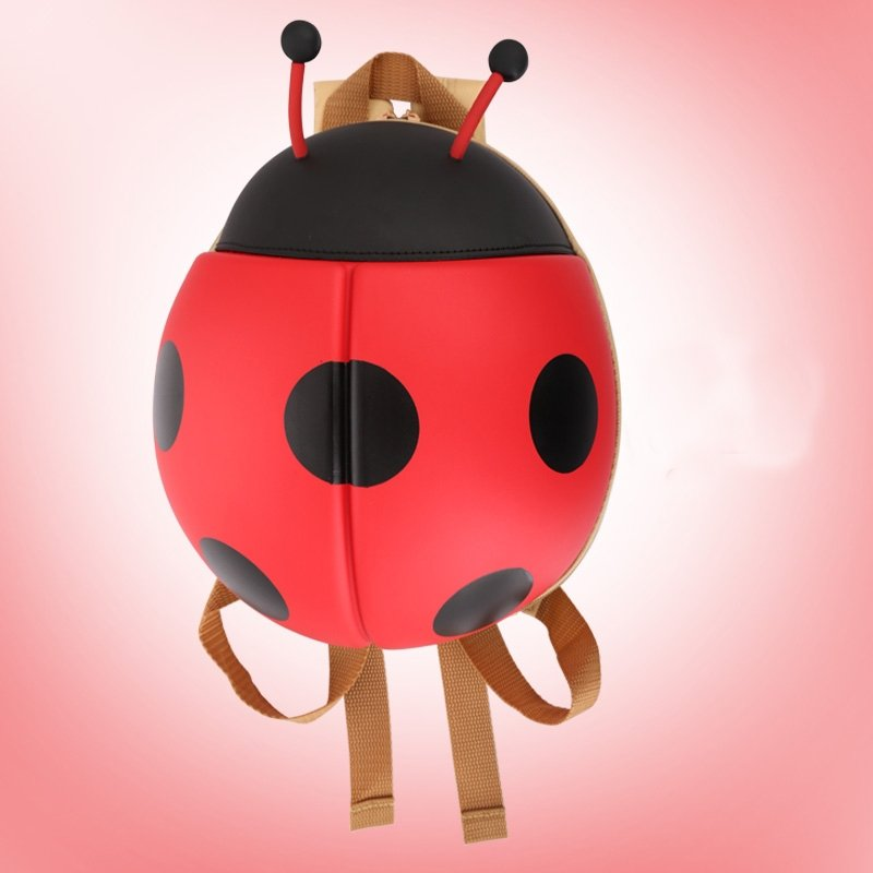 Ultra-lightweight Personalized Cute Animal Ladybug-shaped Toddler Book Bag Black Red Polka Dot Gorgeous Trendy Kids School Backpack