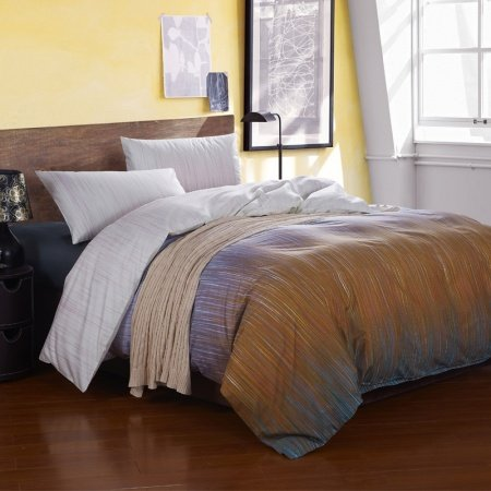Rust Orange Grey and Blue Vertical Stripe Shabby Chic Masculine Style Luxury Reversible 100% Egyptian Cotton Full, Queen Size Bedding Sets