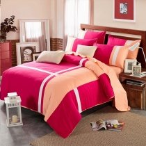 Rose Coral Pink and White Girls Cross Stripe Simply Modern Chic Elegant 100% Cotton Twin, Full, Queen Size Bedding Sets