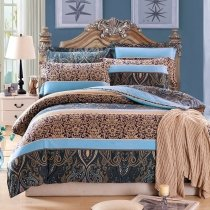 Deep Blue Aqua and Camel Tribal Print Stripe and Vintage Bohemian Royalty Style 100% Brushed Cotton Full, Queen Size Bedding Sets