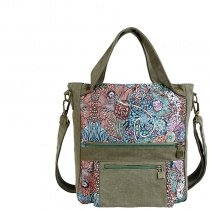Durable Taupe Blue Red Canvas Casual Lady Tote with Lock Trim Vintage Bohemian Hippie Style Floral Print Crossbody Shoulder Handle Bag