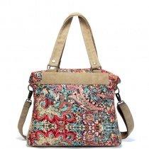 Colorful Durable Canvas Zipper Casual Women Diaper Tote Bag Personalized Retro Bohemian Western Floral Print Crossbody Shoulder Bag