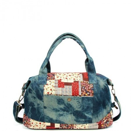 Oversized Denim Blue White Red Durable Jean Casual Women Tote Personalized Bohemian Floral Stylish Patchwork Crossbody Shoulder Bag