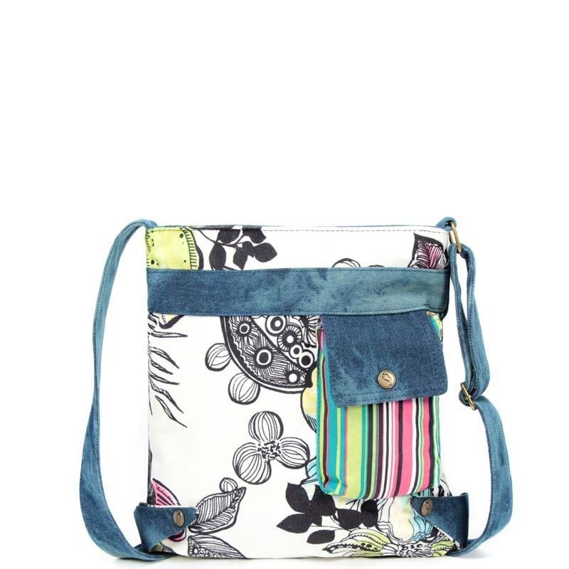 Durable Colorful Canvas Casual Elegant Women Messenger Bag Stylish Hawaiian Floral Modern Chic Pinstripe Print Crossbody Shoulder Bag