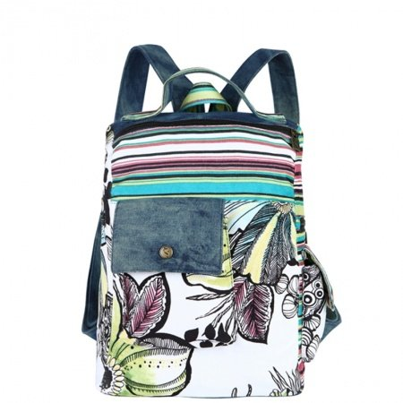 Durable Jean Elegant Girls Preppy School Book Bag Hawaiian Floral Colorful Stripe Travel Hiking Backpack Korean Style 13 Inch Laptop Bag