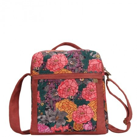 Durable Canvas Sewing Pattern Zipper Casual Girls Small Crossbody Shoulder Bag Stylish Colorful Vintage Western Floral Print Tote Bag
