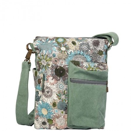 Sage Green Canvas and White Blue Brown Colorful Country Chrysanthemum Print Messenger Bag Stylish Casual Women Crossbody Shoulder Bag