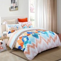Orange Red Blue and Salmon Chevron Stripe Modern Bohemian Bright Colorful High Fashion 100% Cotton Full, Queen Size Bedding Sets