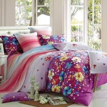 Elegant Girls Purple Red Aqua and White Blossom Print Garden Images Stylish 100% Cotton Damask Queen Size Bedding Sets