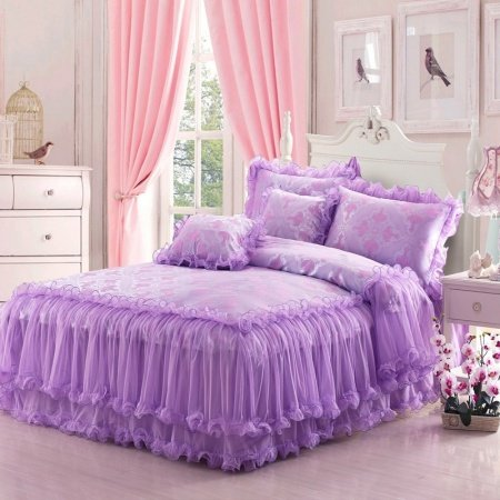 Girls French Violet Gathered Princess Style Feminine Feel Modern Chic Luxury 100% Polyester Full, Queen Size Bedding Sets