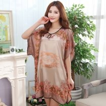 Camel Color Tribal Printed Breathable Comfortable Soft 1 Piece Polyester Short Sleeve Crewneck Skirt Pajamas