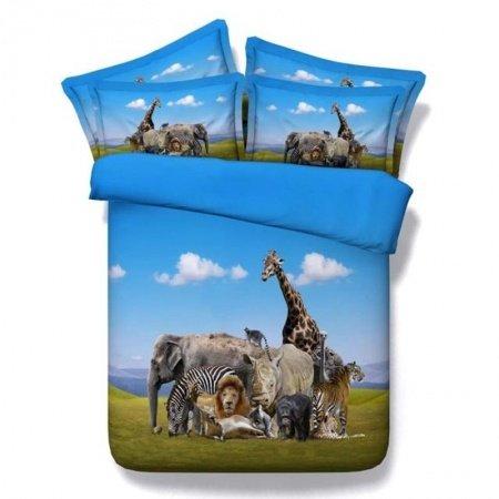 Kids Sky Blue Green and Brown 3D African Safari Jungle Animal Natural Prairie Scene Modal Fiber Twin, Full, Queen, King Size Bedding Sets