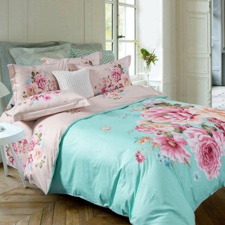 Mint Green Pink and Beige Asian Inspired Oriental Style Flower Print Country Chic 100% Cotton Full, Queen Size Bedding Sets