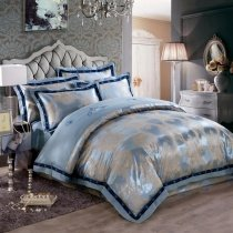Columbia Blue and Grey Shabby Chic Retro Style Indian Pattern Western Style Jacquard Design Satin Fabric Full, Queen Size Bedding Sets