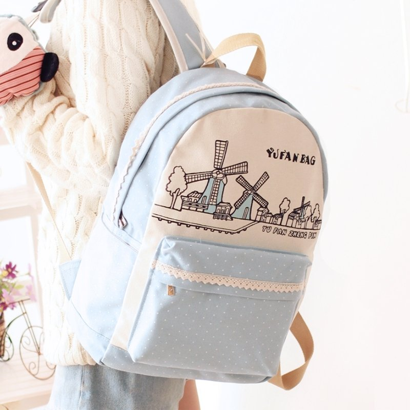Durable Canvas Lace S Preppy School Book Bag Light Blue White Personalized Polka Dot And Windmill Hiking Travel Laptop Backpack