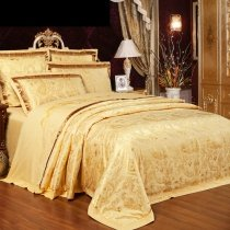 Solid Gold Paisley Pop Luxury Hotel Style Modern Masculine Western Style Embroidered Jacquard Satin Full, Queen Size Bedding Sets