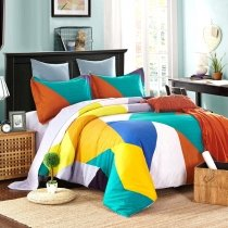 Bright Colorful Geometric Pattern Patchwork Abstract Design Modern Chic Preppy Style 100% Brushed Cotton Full, Queen Size Bedding Sets