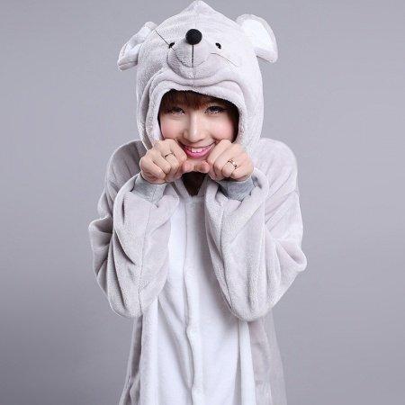 Mouse Rat Animal Anime Jumpsuit Onesies Hooded Halloween Christmas Costume Unisex Women Men Adult Pajamas