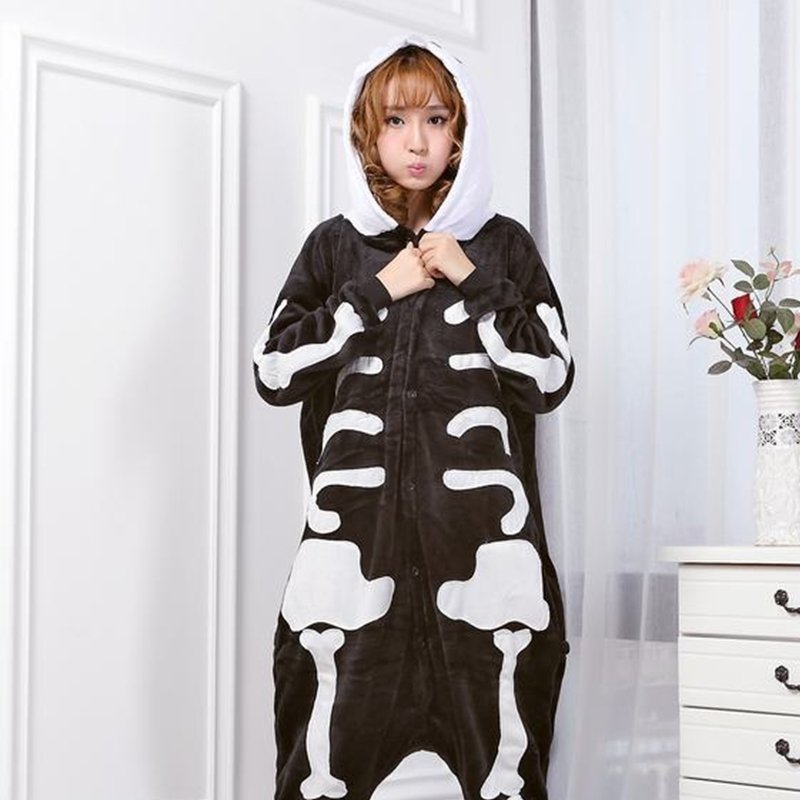 Flannel Skeleton Skull Pajamas All in One Pyjama Men Women Autumn Winter Garment Cartoon Onesies Pajamas Toileting Version