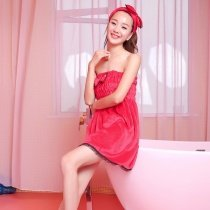 Rose Red High Quality Girls Goddess Flannel Bowknot Lace Ruffled Pleat Sexy Chest Wrapped Towels Summer Pajamas