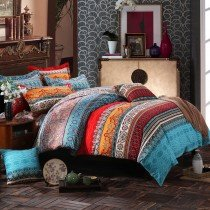 Turquoise Peacock Blue and Burnt Orange Bohemian Chic Southwestern Style Luxury Brushed Cotton Full, Queen Size Bedding Sets