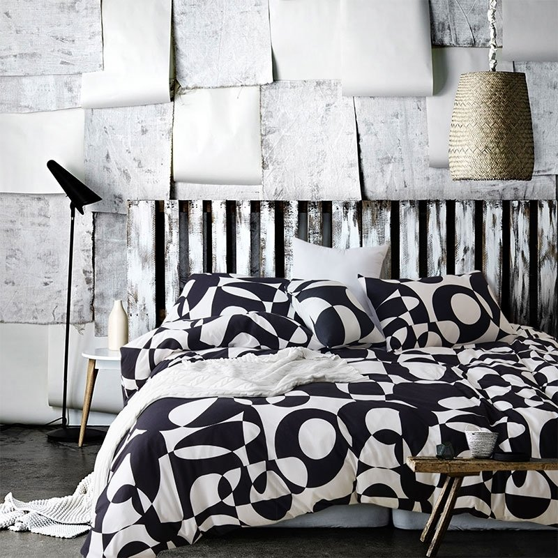 Black and White Masculine Style Abstract Design Patchwork Pattern Old Fashion Luxury Egyptian Cotton Full, Queen Size Bedding Sets