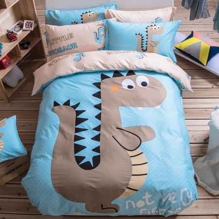 Light Blue Gray and Black Dinosaur Print Jurassic Adventure Jungle Animal 100% Cotton Kids, Boys Twin, Full Size Bedding Sets
