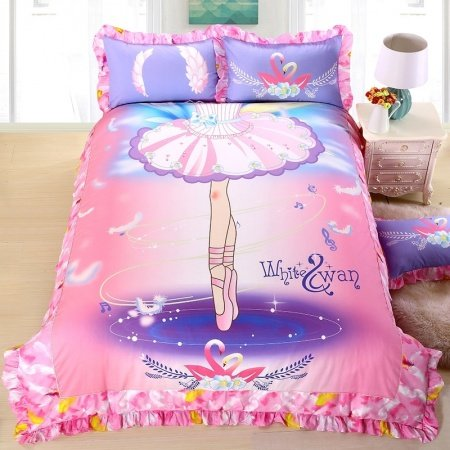 Pink and Lavender Purple Ballet Girl Print Cute and Elegant Princess Style Stylish Ruched Edge 100% Cotton Twin, Full Size Bedding Sets