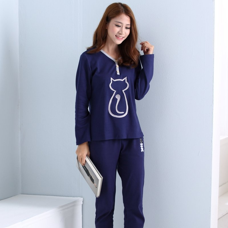 Blue Long Sleeve V-neck Shirt and Trousers Cat Fish Bone Embroidered Contracted 100% Cotton Pajamas for Girls Lady