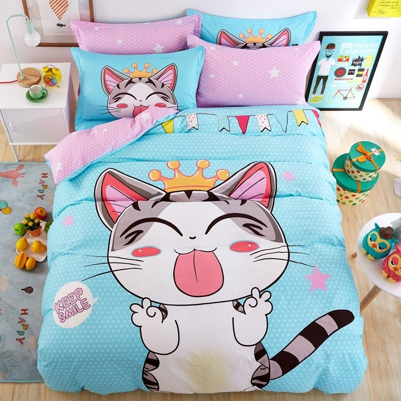 Pale Blue Black and White Cute Cat Print Farm Animal Modern Chic Preppy Style Kids 100% Cotton Twin, Full Size Bedding Sets