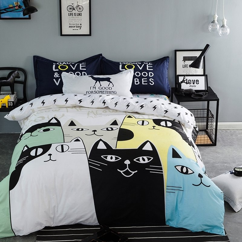 Boys Light Blue Light Yellow Black and White Cat Print Funny Style Cartoon Themed Abstract Design 100% Cotton Full Size Bedding Sets