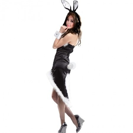 Black Bunny Girl Sexy Asymmetrical Plush Dress Christmas Costumes Uniform Pajamas