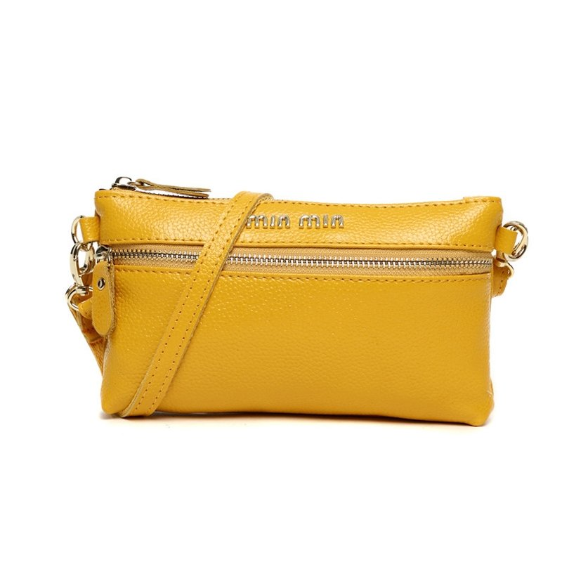 Boutique Lemon Yellow Genuine Cowhide Leather Women Clutch Wristlet Durable Sewing Pattern Sequin Small Coin Purse Crossbody Shoulder Bag