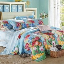 Orange Green Crimson Red and Sky Blue Bright Colorful Flower Print French Country 100% Egyptian Cotton Full, Queen Size Bedding Sets