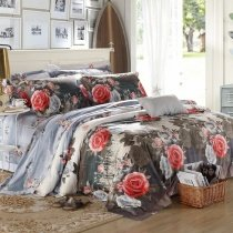 Charcoal Gray Coral Red and White Antique Rose Print Old Fashion Retro Style Luxury Egyptian Cotton Full, Queen Size Bedding Sets