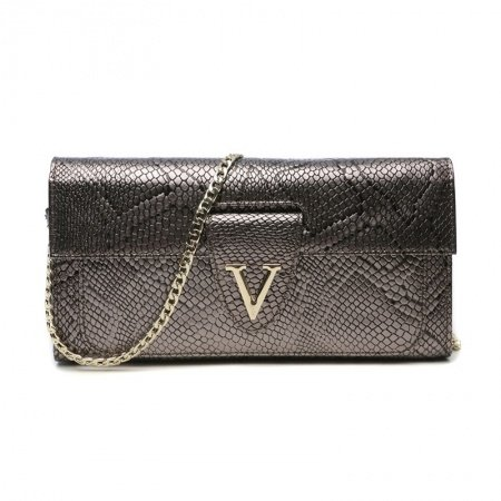 Taupe Cowhide Leather Embossed Alligator Lady Evening Party Clutch Wristlet Stylish Magnetic Closure Chain Flap Crossbody Shoulder Bag