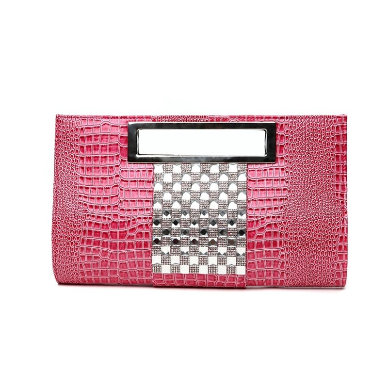 Hot Pink Patent Leather Glitter Rhinestone Women Evening Party Clutch Boutique Embossed Crocodile Chain Strap Crossbody Shoulder Tote Bag