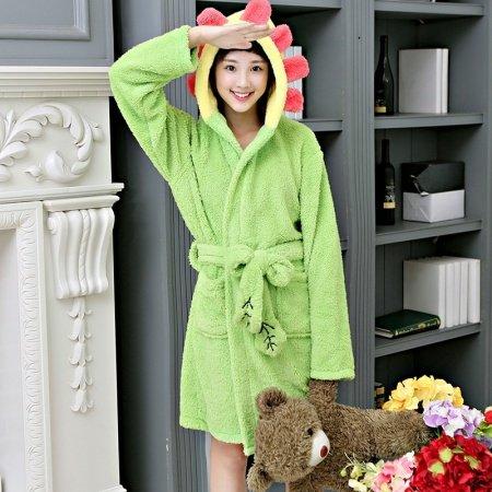 Cartoon Green Sunflower Pattern Bathrobe Robe Cute Spa Hooded Flannel Pajamas for Girls M L