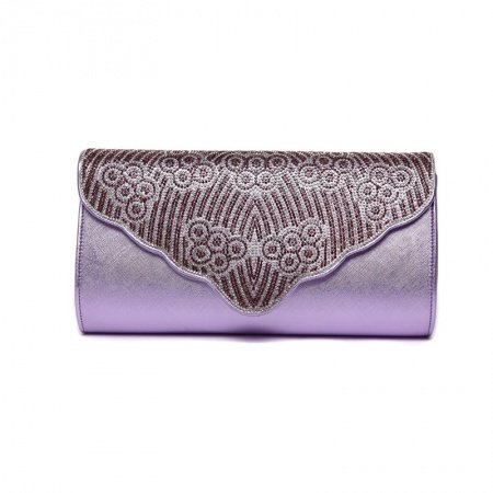 Durable Amethyst Purple Faux Leather Lady Evening Party Clutch Wallet Gorgeous Bohemian Glitter Rhinestone Flap Crossbody Shoulder Bag