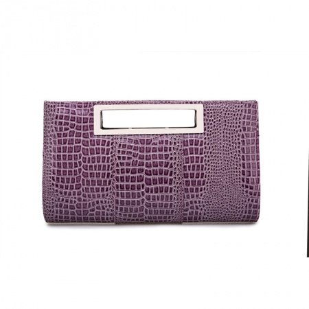 Gorgeous Purple Patent Leather Women Casual Party Evening Clutch Personalized Embossed Alligator Sewing Pattern Crossbody Shoulder Tote Bag