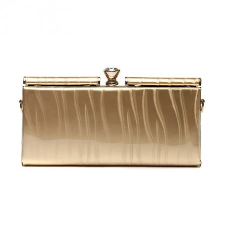 Gorgeous Metallic Gold Patent Leather Women Evening Party Clutch Fashion Magnetic Closure Rhinestone Chain Small Crossbody Shoulder Bag