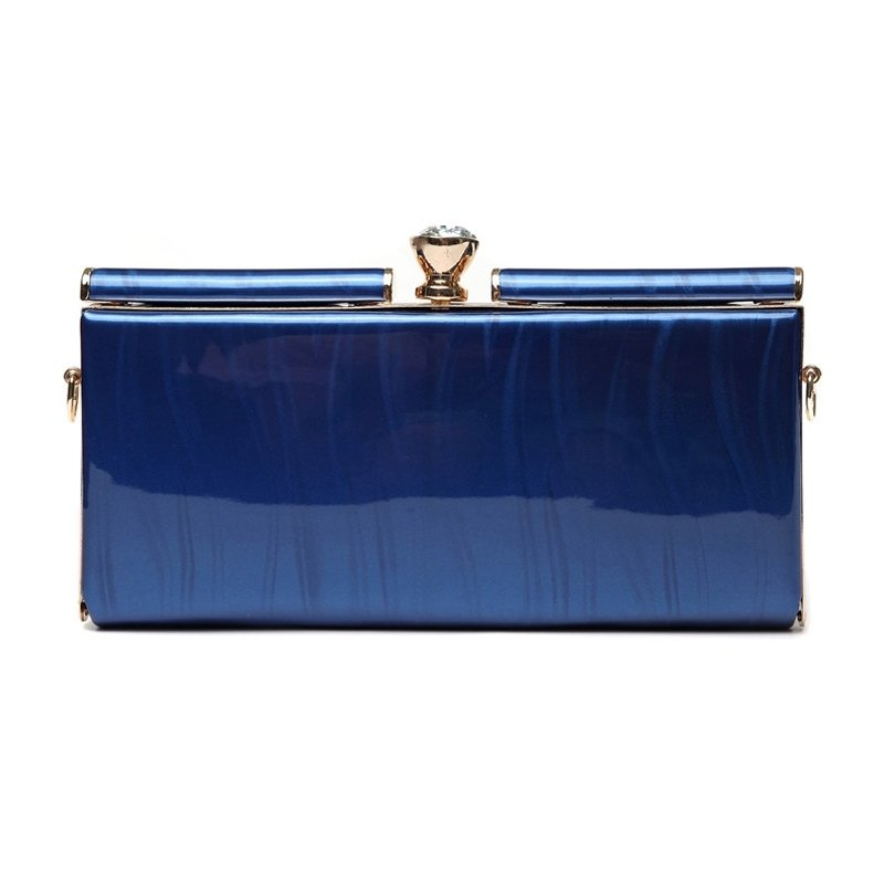 Durable Shiny Royal Blue Patent Leather Women Evening Party Clutch Fashion Magnetic Closure Rhinestone Chain Small Crossbody Shoulder Bag