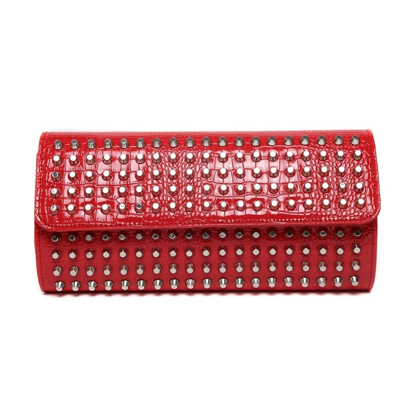 Gorgeous Crimson Red Patent Leather Rivet Studded Lady Evening Party Clutch Boutique Embossed Crocodile Small Flap Crossbody Shoulder Bag