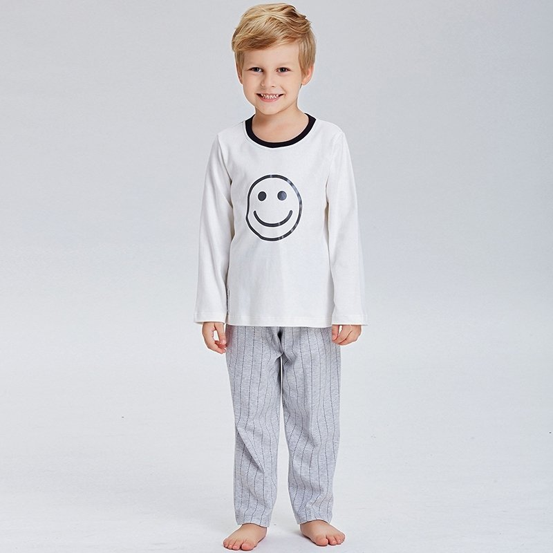 100% Cotton Smiley Emoji and Stripe Print 2pc Long Sleeve Shirt Trousers Cute Pajamas for Kids